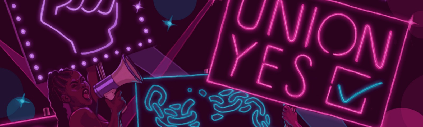 """A graphic illustration showing two Black pole dancers with neon signs mounted on their poles, one says """"UNION YES."""""""