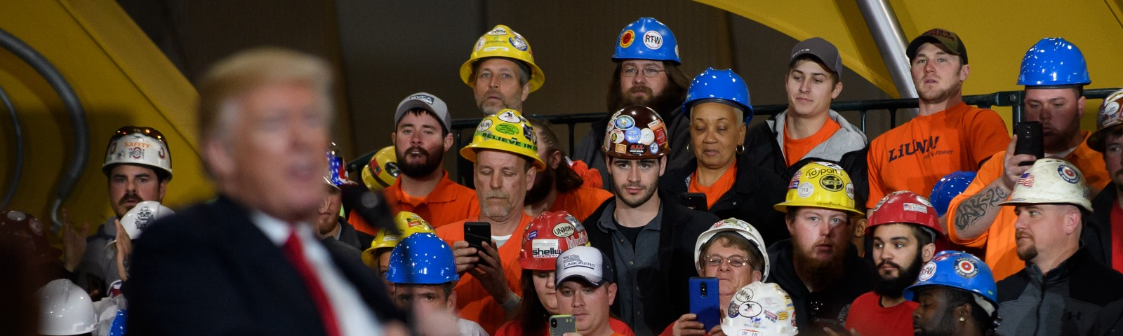 Donald Trump speaks to a crowd gathered at the Local 18 Richfield Facility of the Operating Engineers Apprentice and Training