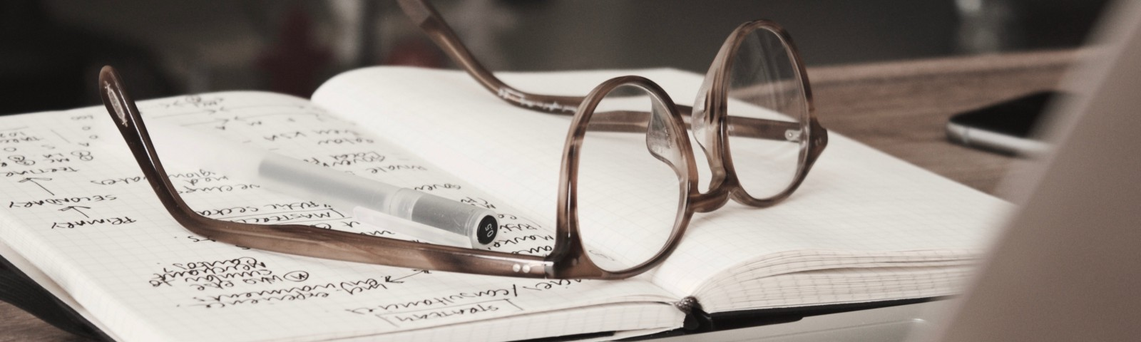Eyeglasses and pen laying on top of open notebook.