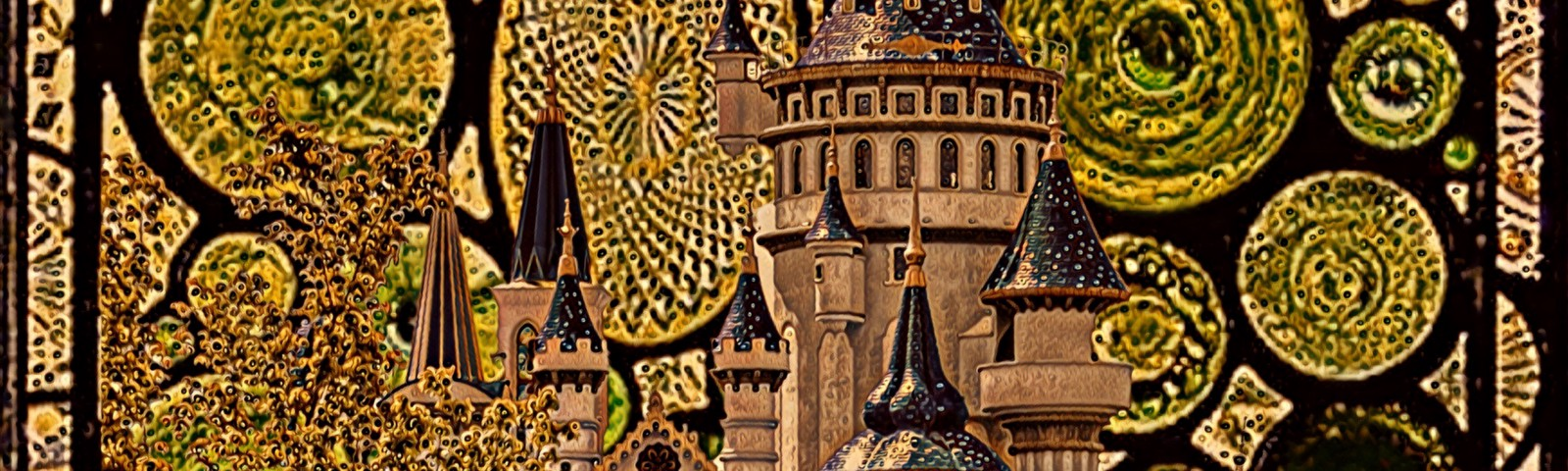 Golden brown and green fairy tale castle