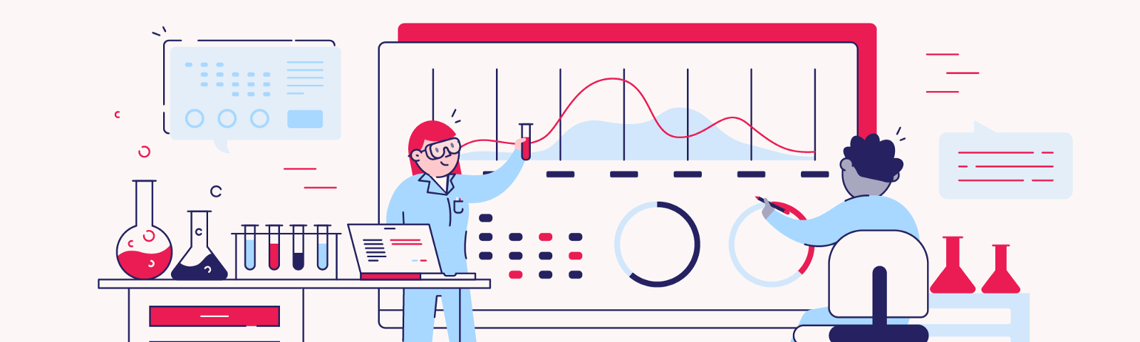 Illustrated scientists working with data visualizations