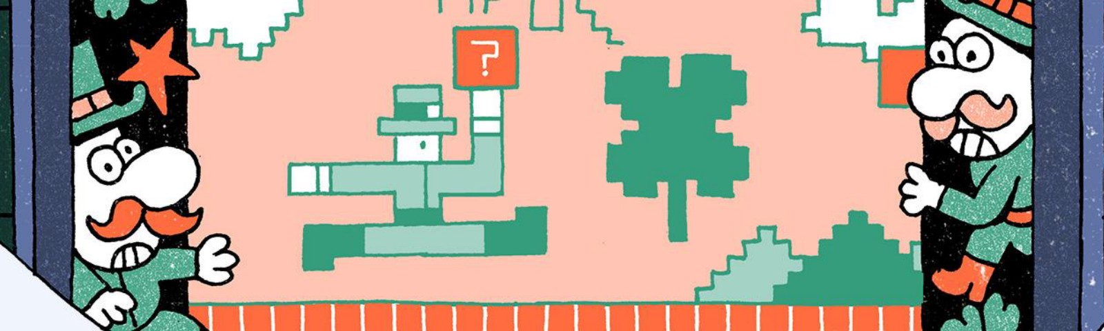 Leprachauns on either side of the illustration look at an 8-bit video-game style drawing of a leprachaun with a? box.