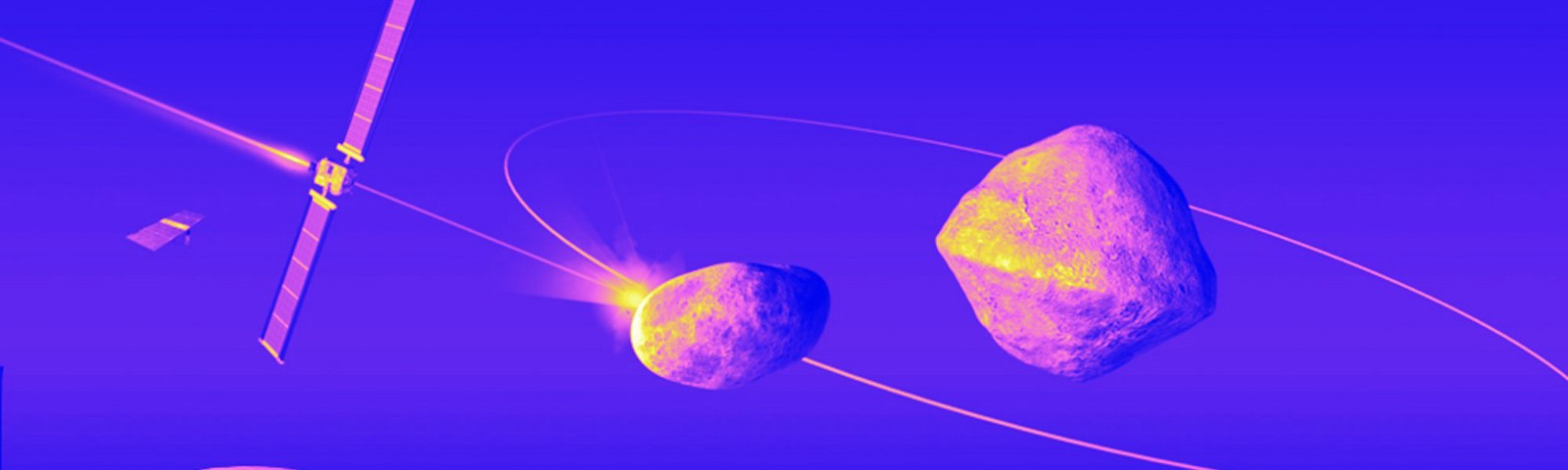 An asteroid orbiting a moonlet with a planet in the image's lower corner. A satellite flies toward the orbiting asteroid.