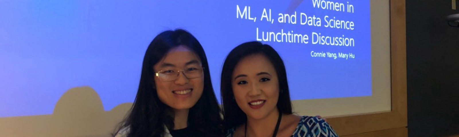 Mary Hu and Connie Yang at first WiDS Workshop for MLADS 2018 Conference.