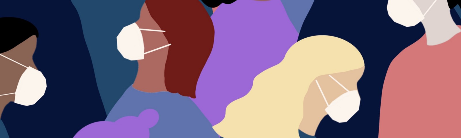 A crowd of overlapping people of different skin tones wearing N-95-style face masks. Illustration.