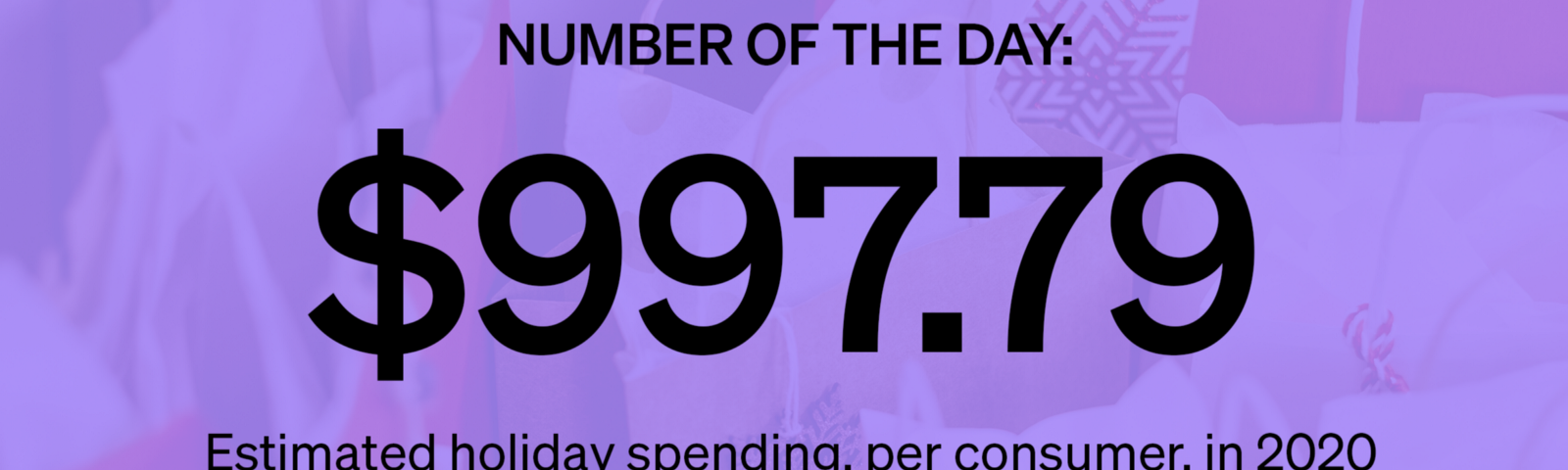 Marker Number of the Day: $997.79—Estimated holiday spending, per consumer, in 2020 (Source: National Retail Federation)