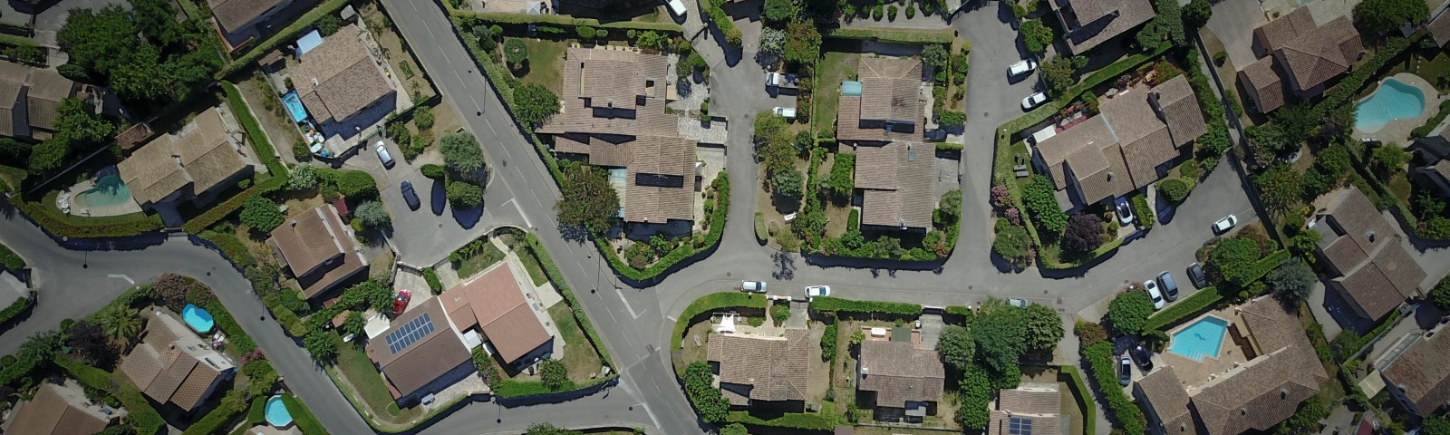 Aerial view of suburban neighborhood.