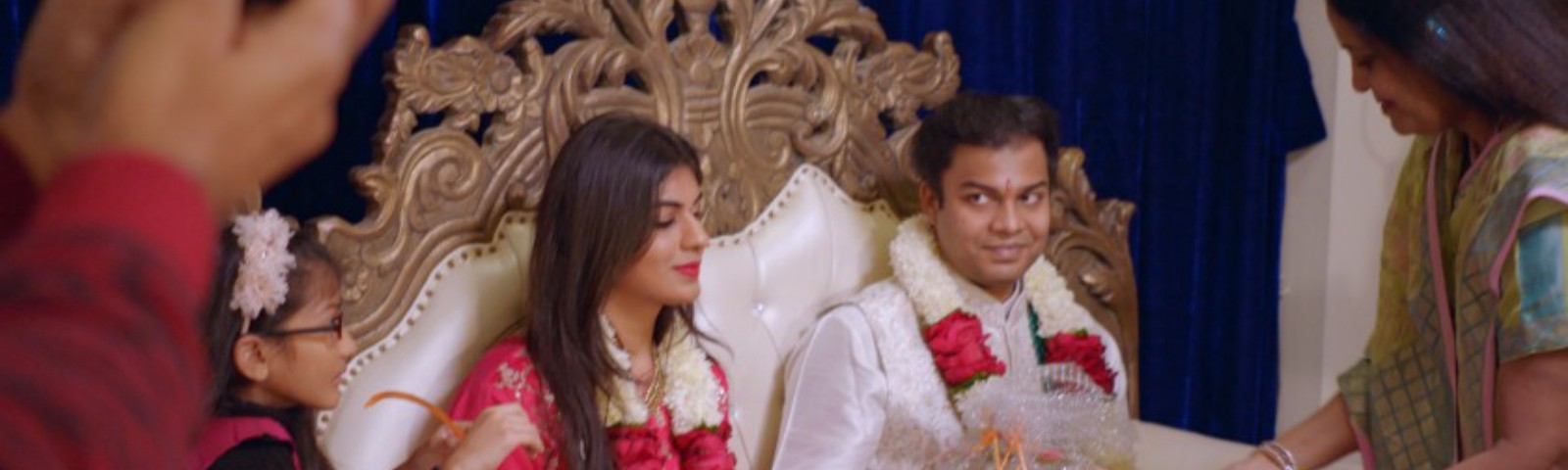 """A screenshot of Radhika and Akshay during their engagement ceremony from the Netflix show """"Indian Matchmaking."""""""