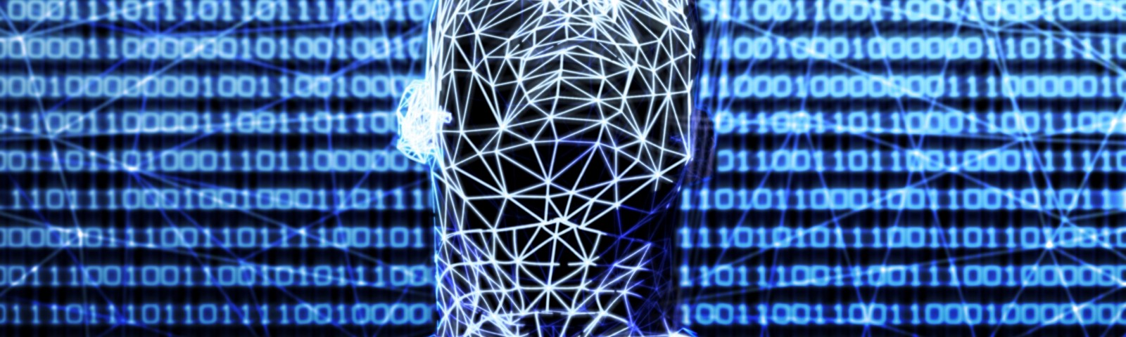 A wireframe superimposed over a person's upper body, binary code projected on the wall in the background.