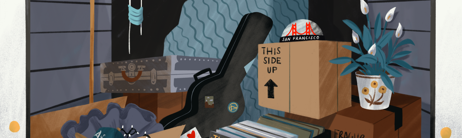 Illustration of in the inside of a garage, with lots of personal belongings in boxes.
