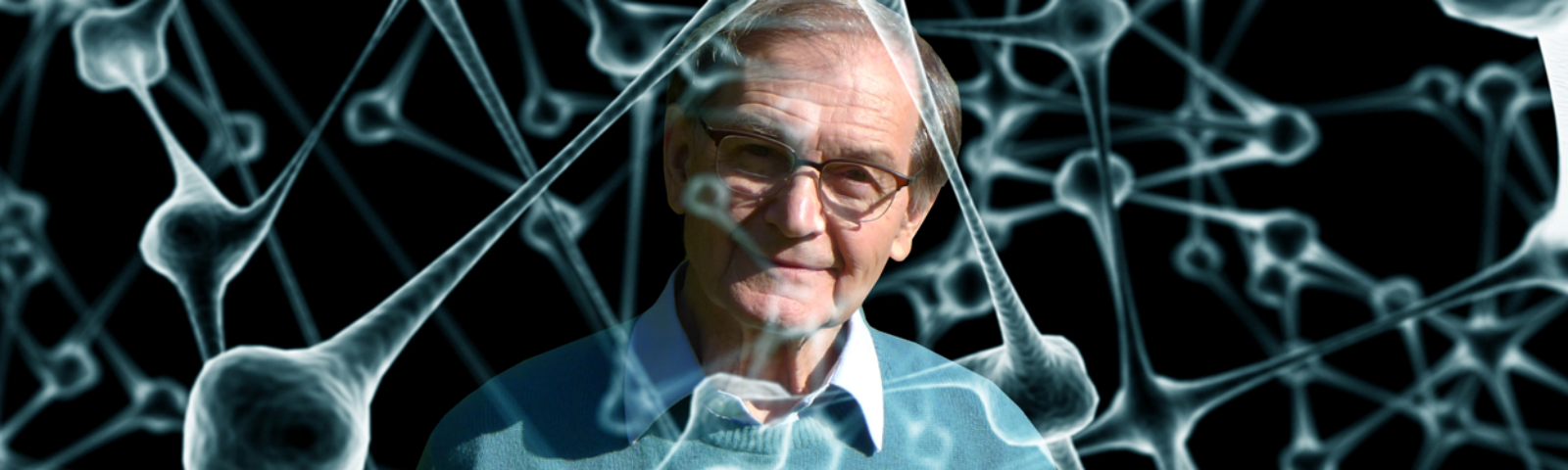 An illustration of a network of molecules superimposed on a photograph of Roger Penrose.