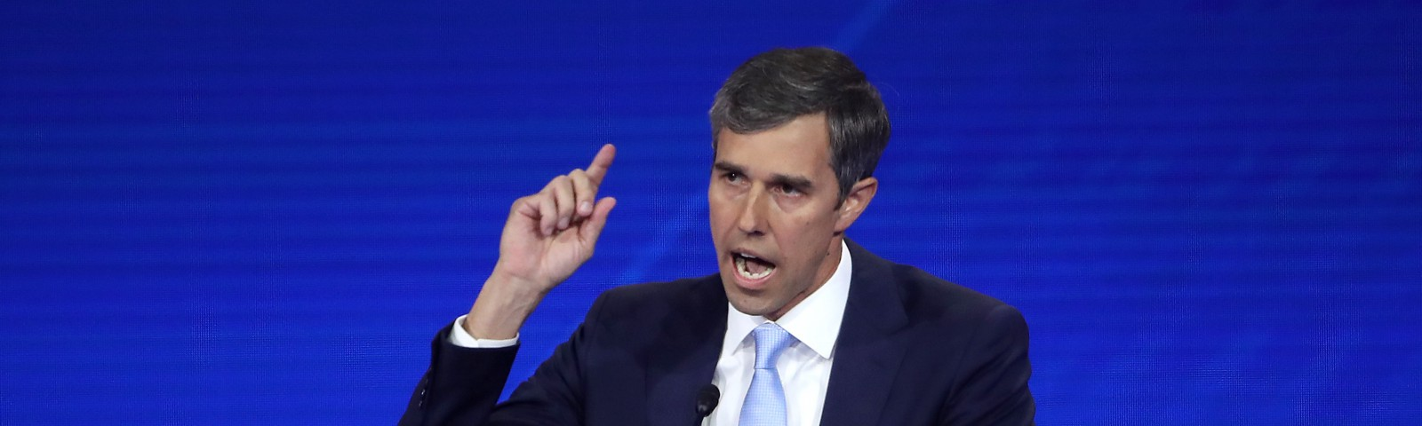 A photo of Beto O'Rourke speaking during the Democratic Presidential Debate inHouston, Texas.