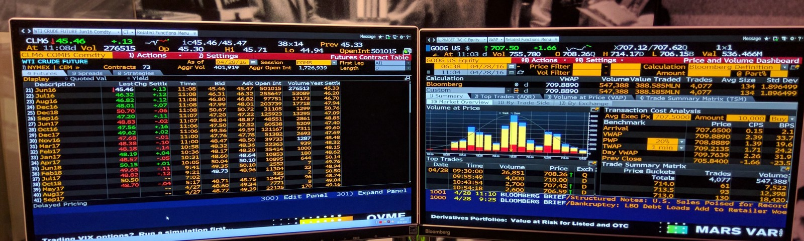 A Bloomberg Terminal on a desk.