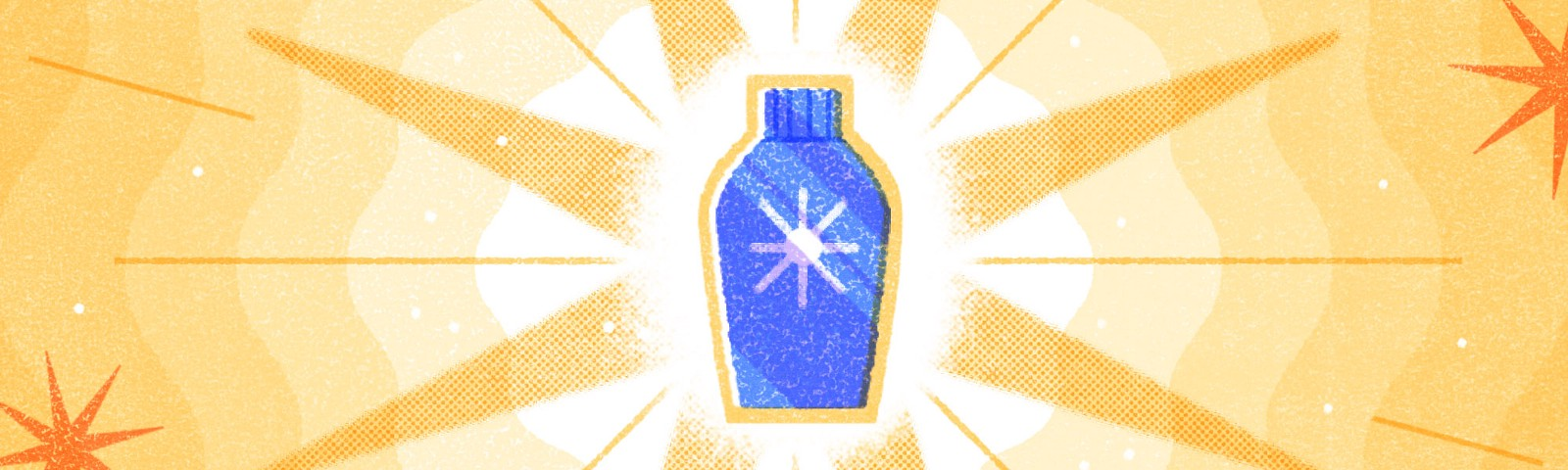 """An illustration of a generic blue bottle with a """"sun"""" shaped icon, set against a bright yellow background, centered on the shape of a sun."""