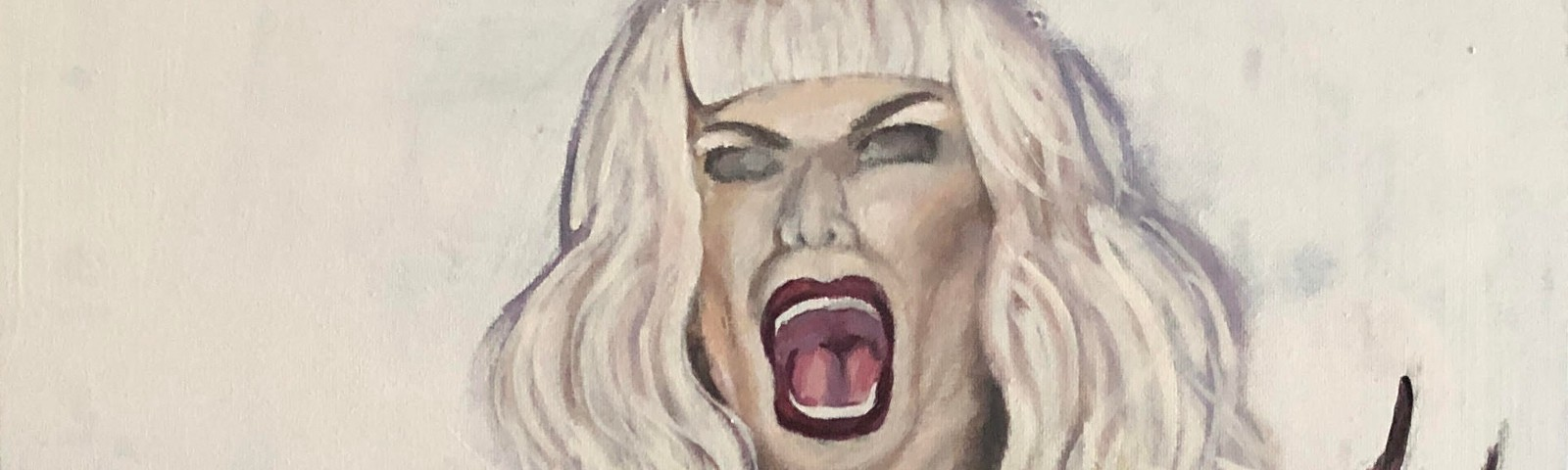 Illustration of a screaming platinum blonde woman, her hands are red with long claw-like nails, and eyes in middle of palms.