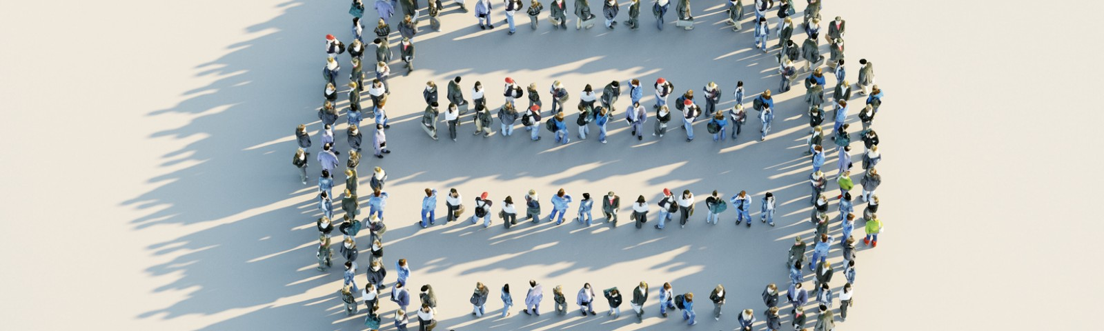 A crowd forms the shape of a DNA model.