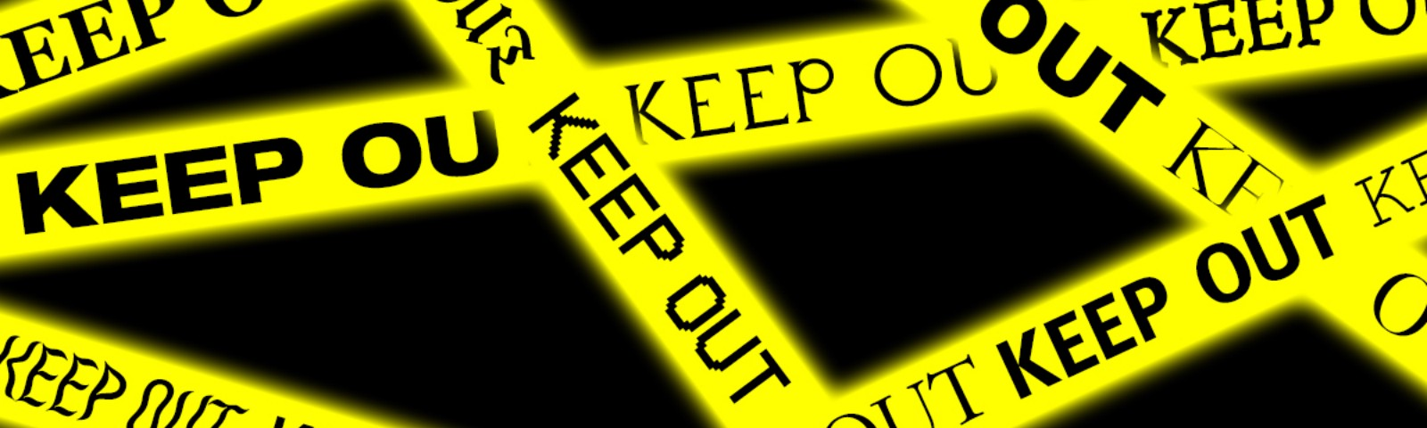 "Criss-crossed strips of yellow police tape with the words ""keep out"" repeated in different font families."