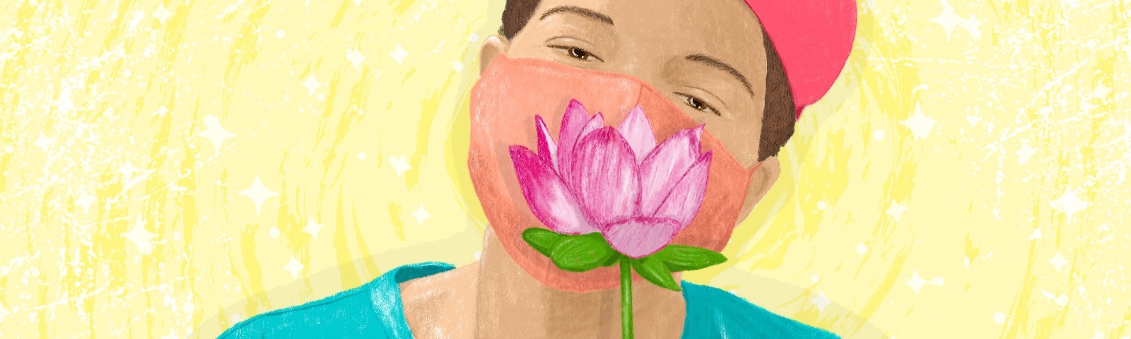 A short-haired person with light brown skin wearing a pink baseball cap, a light teal shirt, and a sherbet-orange face mask, holds a lotus flower in front of their lower face.
