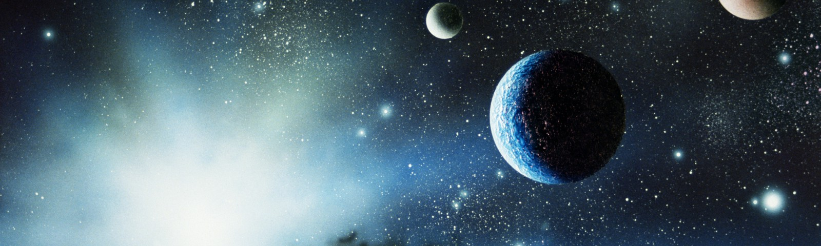 Various planets and stars in space.