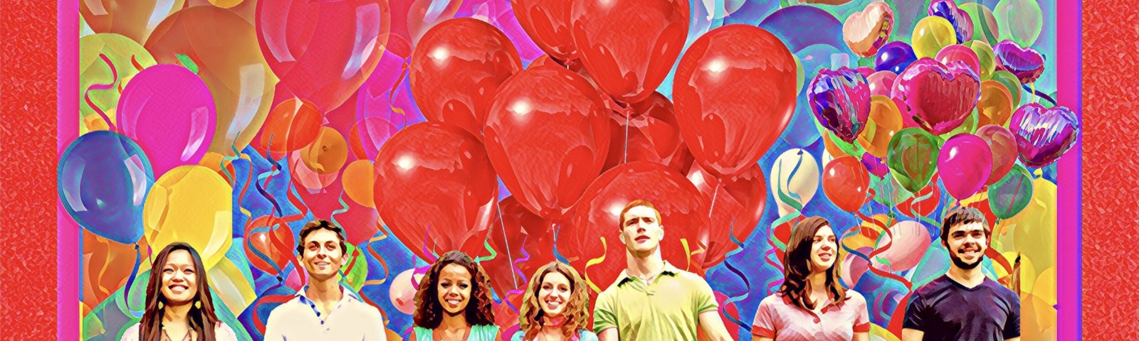 A group of young people holding hands in front of a field of balloons