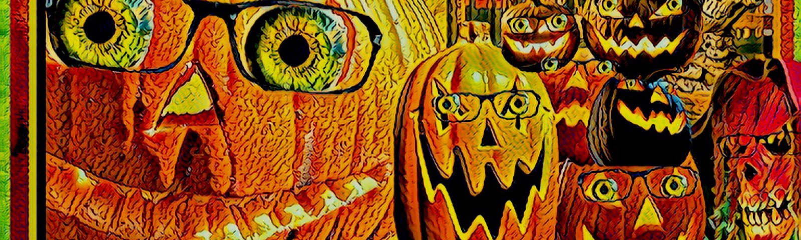 Jack-o'-lanterns and other Halloween figures wearing librarians' glasses and smiling broadly