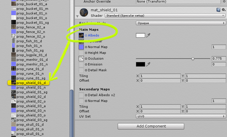 Unity's inspector, where you can find references to texture files.