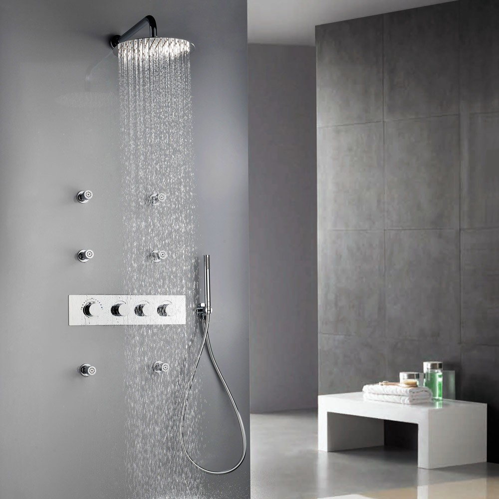 Review Contemporary Wall Mount 12 Inches Rain Head Shower System ...