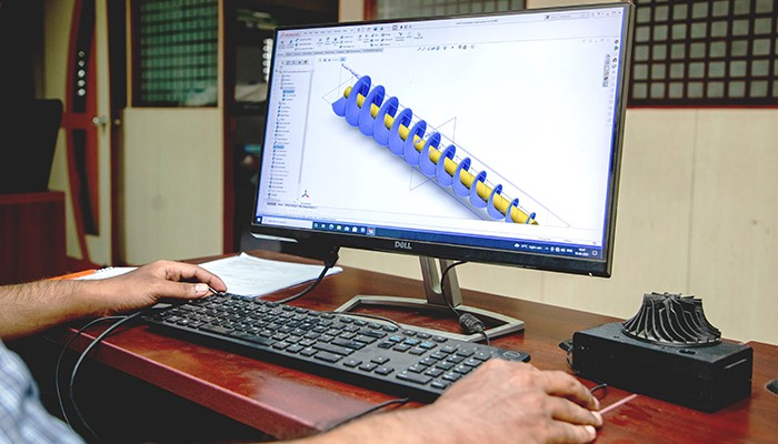 Fabheads using CAD for its Archimedes Screw Design
