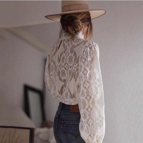 Long Sleeve Petal Collar See Through Lace Top—Chicbohostyle