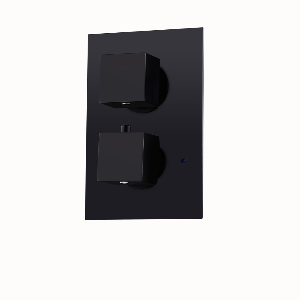 Review Modern Square Concealed 2 Way Thermostatic Shower Valve Solid Black  With Square Knobs
