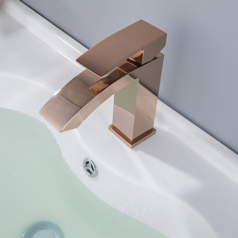 Review Ridge Modern Design Angled Spout Single Handle Waterfall - Bathroom plumbing fixtures discount