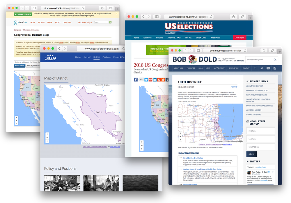 Govtrack Congressional District Maps In The Wild From Left Govtrack Us A Campaign Website An Independent Reference Website And An Elected Official