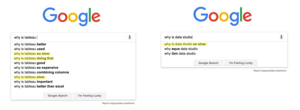 Snapshot showing top Google search suggestions for 'why is tableau..' and 'why is data studio..'