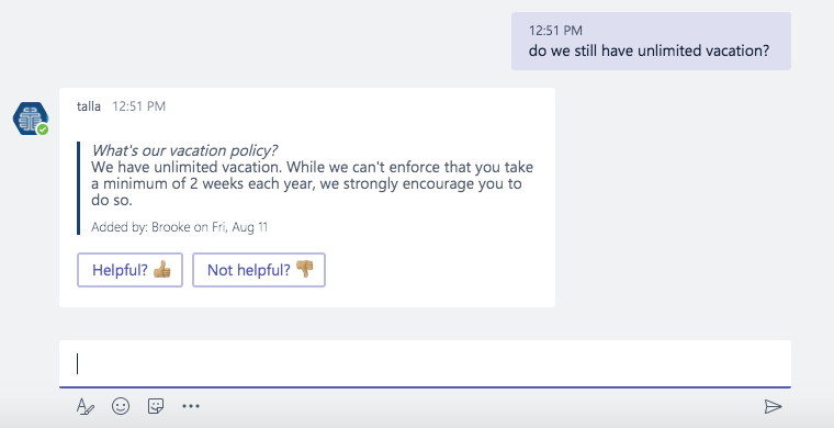 Talla auto response in Microsoft Teams