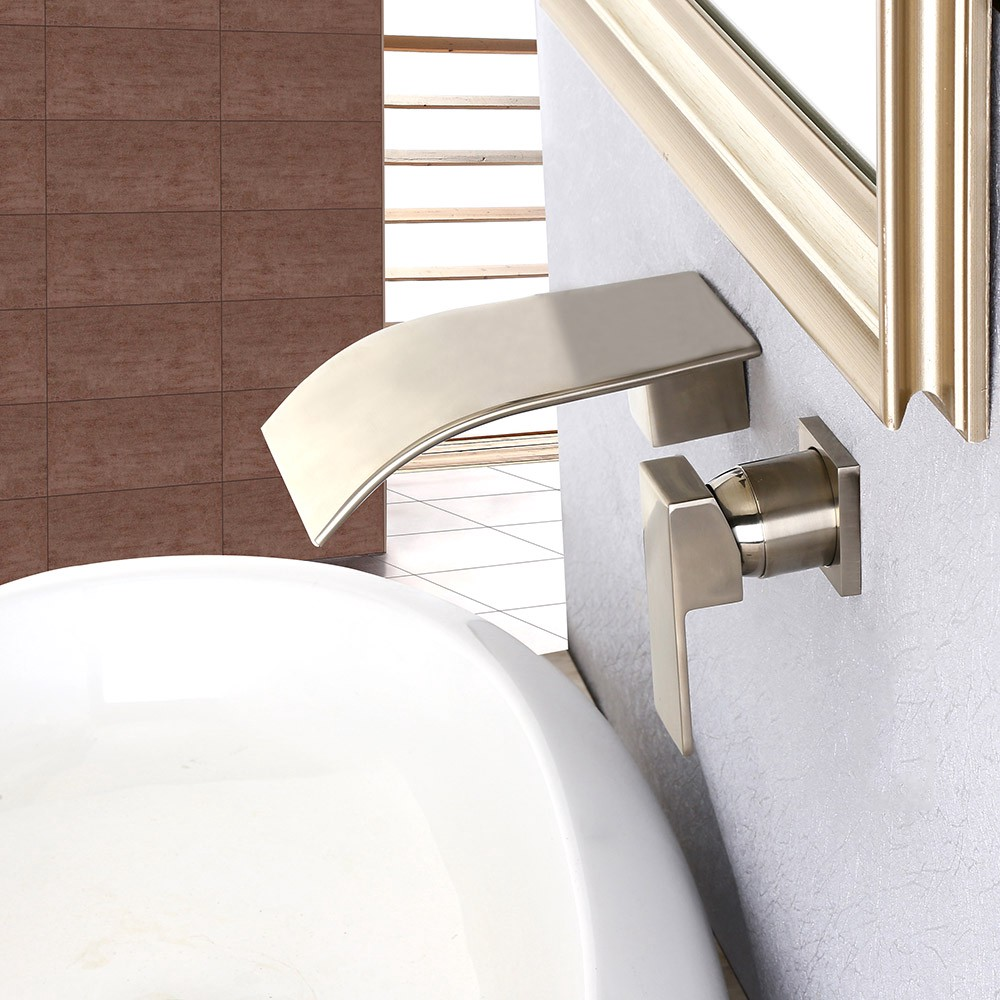 Review Milly Wall Mounted Waterfall Single Handle Bathroom Sink