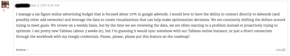 Snapshot of a comment from Tableau Forums regarding absence of native connectors