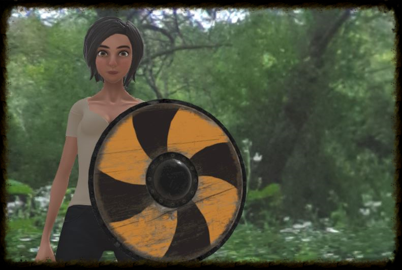 3D Avatar holding a shield from the Unity Asset Store in High Fidelity's platform.