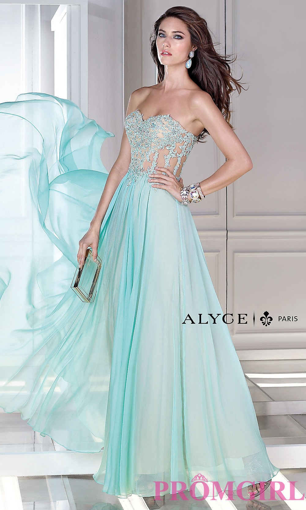 Alyce Corset Strapless Dress with Sheer Bodice AL-35677