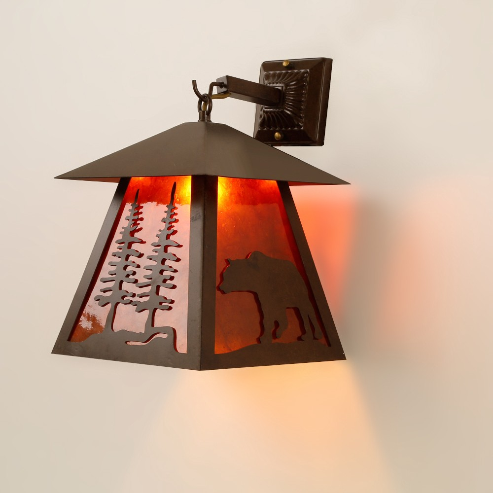 review retro bear cubby house shaped 1 light metal mica wall