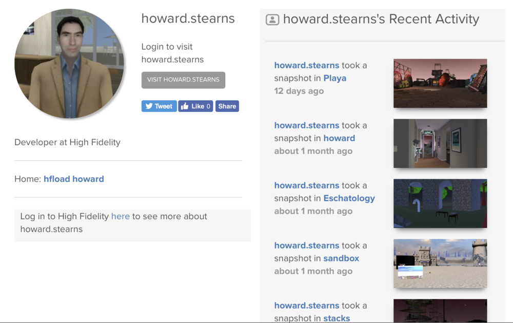 Howard Sterns High Fidelity user profile, showing photos of 3D open source domains.