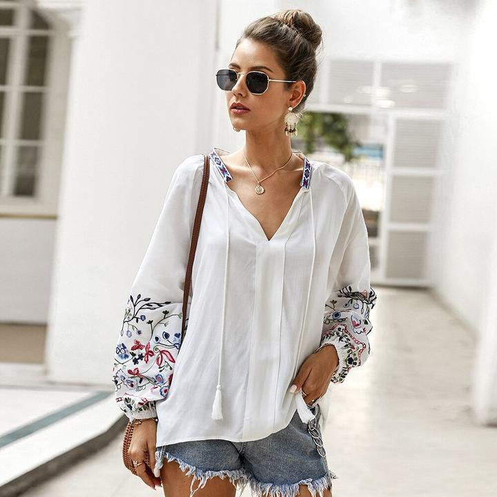 Vintage Embroidery Floral Long Sleeve Blouse-chicbohostyle