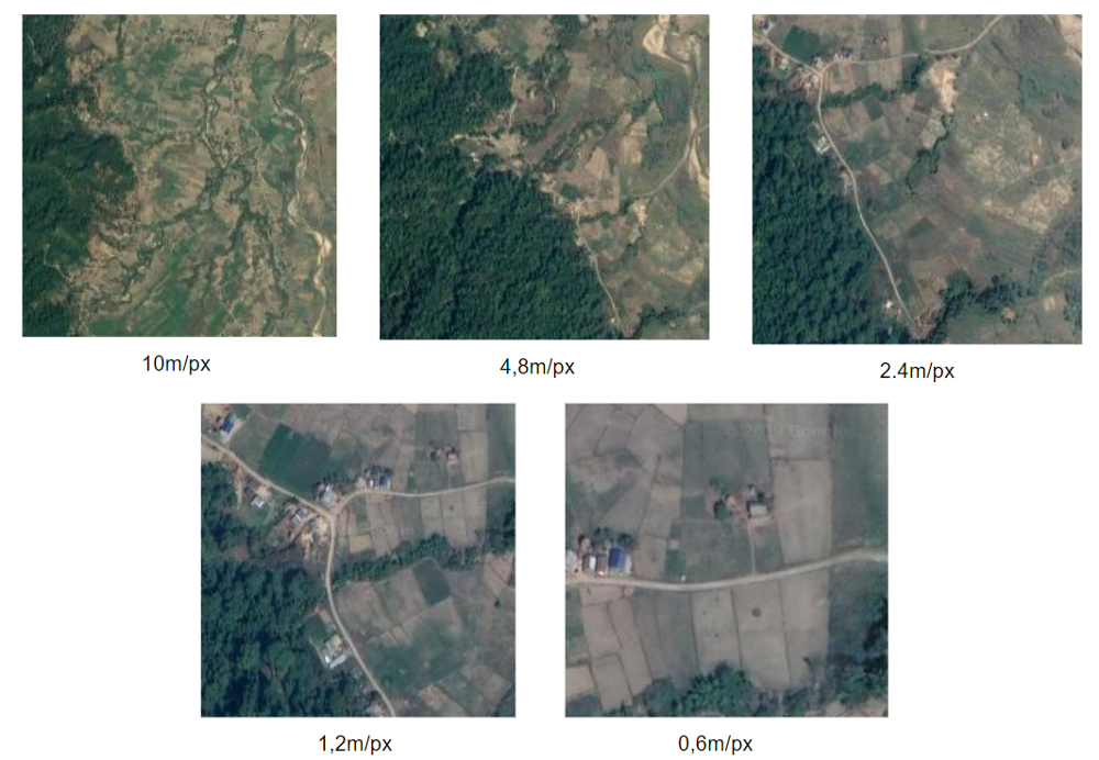 Satellite image spatial resolution vs quality