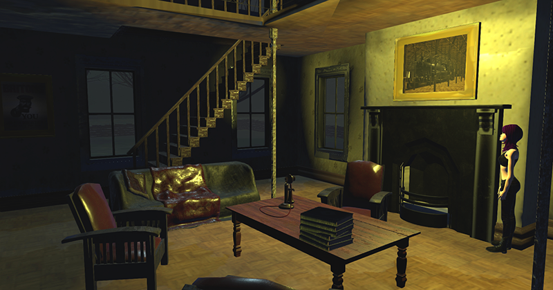 A peek into a house in Crompton Moor, a 3D world modeled on High Fidelity's open source platform.