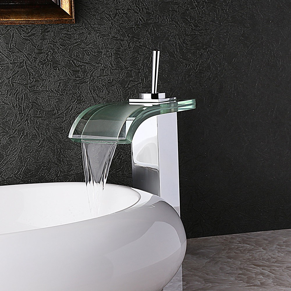 Review Co-crystal Glass Waterfall Bathroom Vessel Sink Faucet One Hole