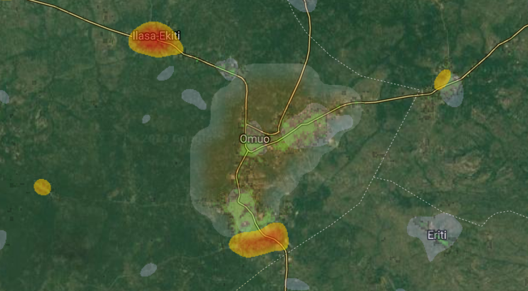 heatmap of Omuo, Ekiti