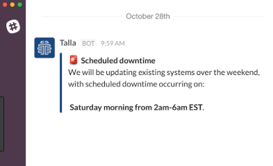 Talla working in Slack