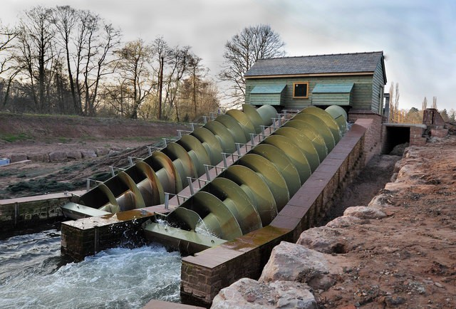 Two parallel Archimedes screw turbines capable of producing 75 kW each