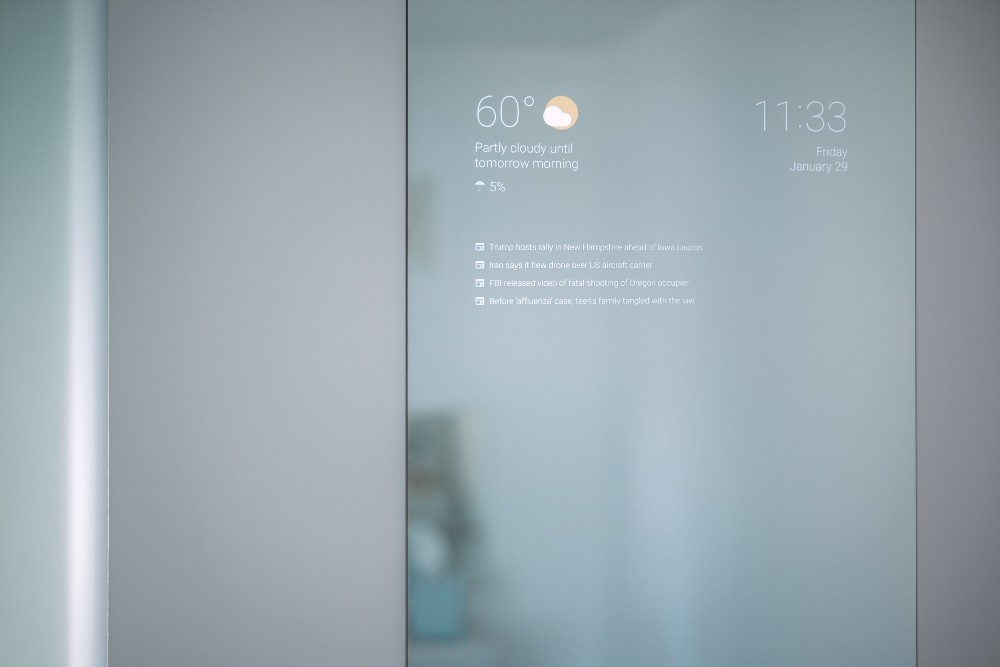The display is only a couple of millimeters thin and embedded in a layer  between the two way mirror glass and the door of the medicine cabinet. My Bathroom Mirror Is Smarter Than Yours   Max Braun   Medium