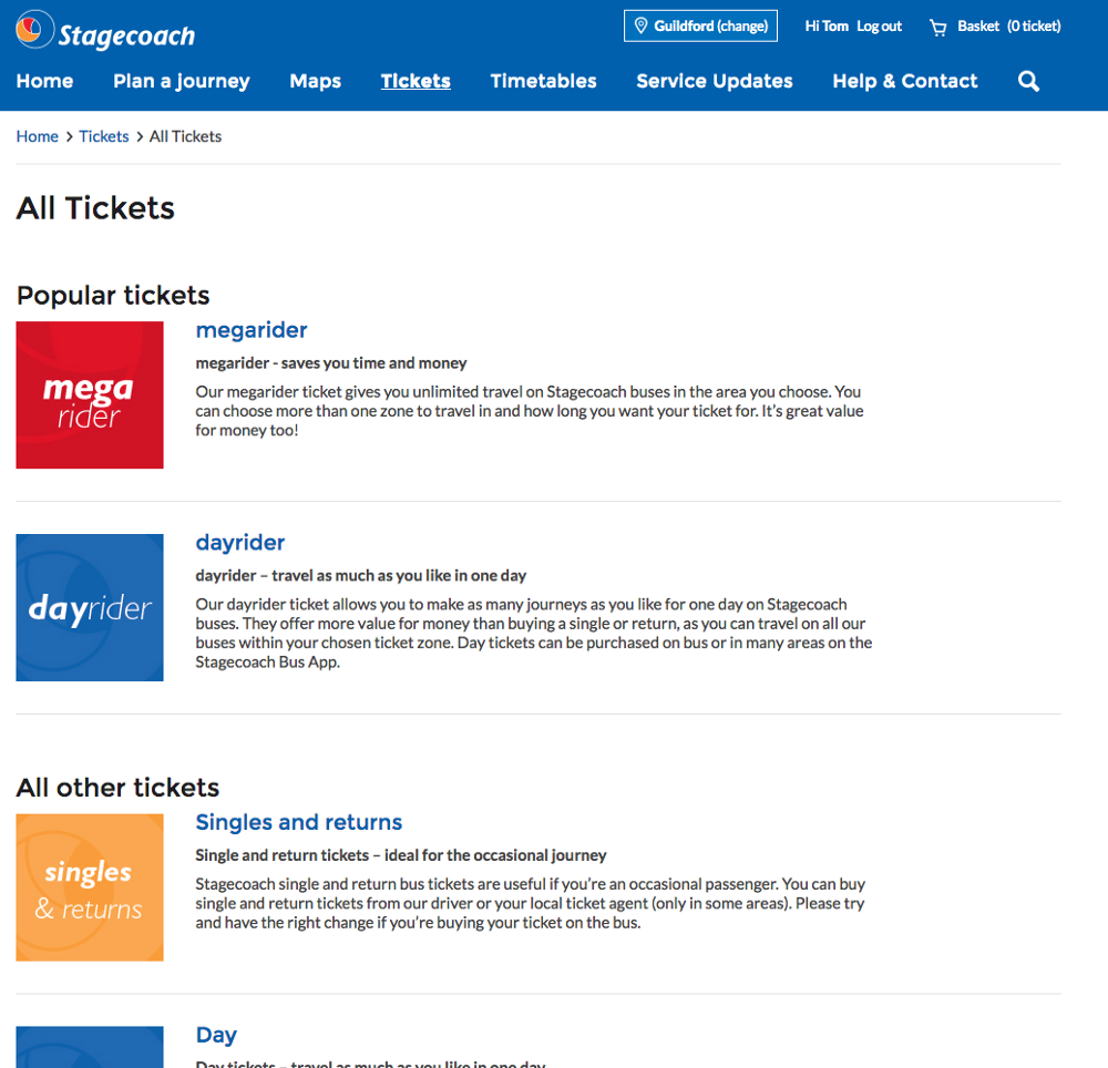 Stagecoach All Tickets page