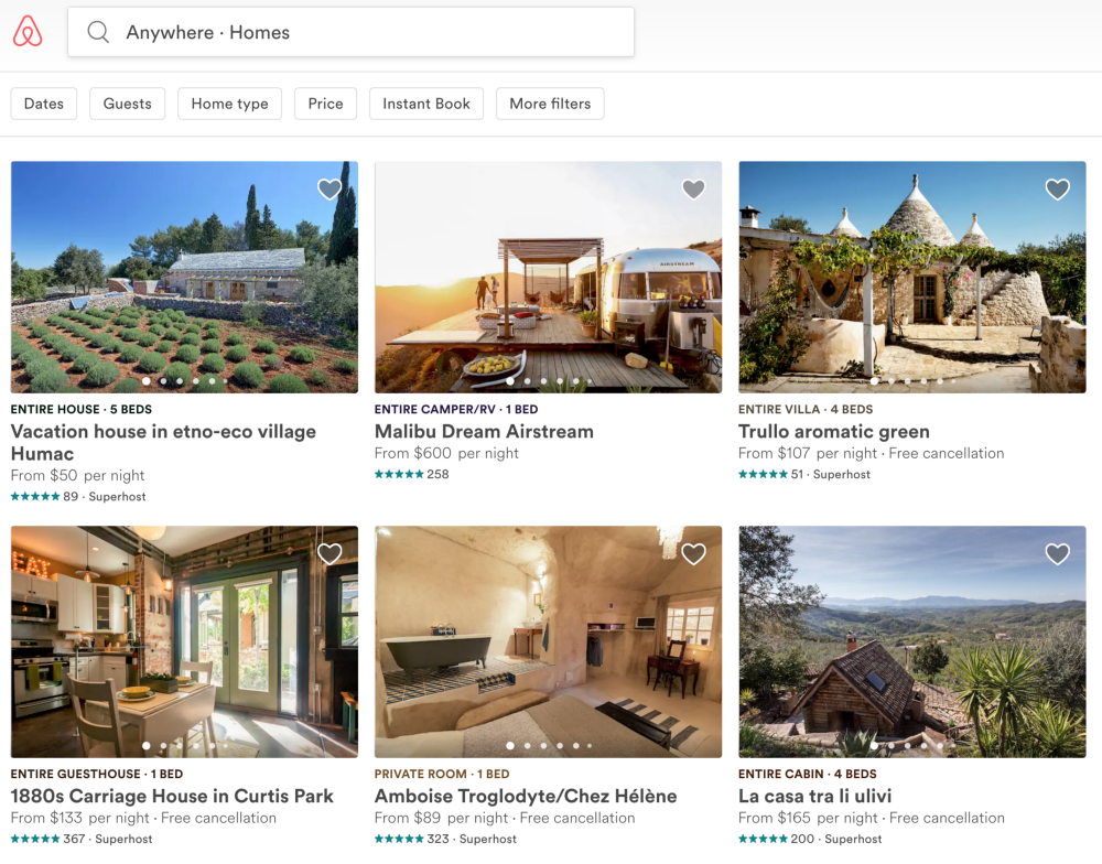 A glimpse on Airbnb Homes Search
